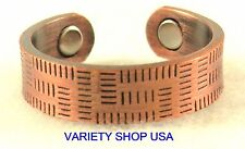 Antiqued Copper Disarrayed Lines Magnetic Ring Adjustable Band R025
