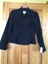 $595 NWT ARMANI COLLEZIONI Black Zipper Front Blazer SZ 6 US 42 EU