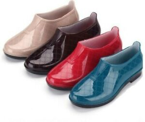 Womens Short Rain Boots Plastic Shoes Pull On Synthetic Waterproof Full Size