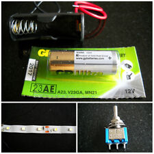 12v Battery and Holder plus switch and 9 SMD strip