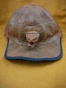 (EL1000-80-2) GENUINE Real Bufo Marinus Cane Toad brown Leather BASEBALL CAP hat