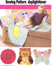 Fleece Throw Blanket Rag Quilt Butterfly Flower Sewing Pattern 2935 Girl New #x