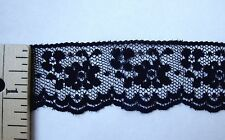 "NEW Vintage 1 1/4"" Wide Scalloped Edge Delicate Black Floral Lace Trim - 5Yds"