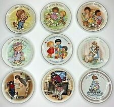 Avon Vintage Set of 9 Mothers Day Collectible Porcelain Plates 1981-1988, 1990