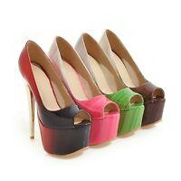 Ladies Peep Toe Shoes Synthetic Leather Platform High Heels Sandals AU Size s992
