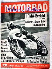 DAS MOTORRAD 20-68+BSA ROCKET-3+TRIUMPH TRIDENT+GP MONZA+EIFELPOKAL+VILLA