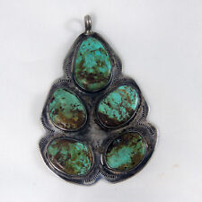 Southwestern Navajo Huge Royston Turquoise Pendant Grandmother Sterling Silver