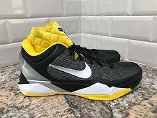 Nike Zoom Kobe VII Supreme Black Metallic Silver Tour Yellow SZ 9.5 488244-001