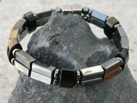 Men's Women's Double Magnetic Bracelet BLACK ONYX Magnetic Hematite Stone