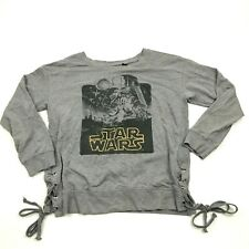 STAR WARS Darth Vader Shirt Womens Size Large L Gray Long Sleeve Cinch Tie Sides