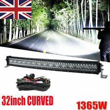"12D 32Inch 1365W Curved LED Light Bar Spot Flood Offroad 34"" 35"" 31"" /w wire"