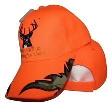 Hunters Will Do Anything For A Buck Neon Orange Camouflage Embroidered Cap Hat