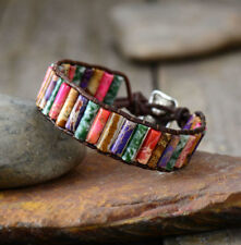 Bracelet Beaded Wrap Cuff Bracelet,  Chakra Leather Agate Oblong Jasper Natural
