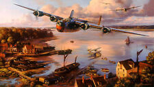 Nic Trudgian B-24 print Safe Haven signed by 4 USAAF Liberator aircrew veterans