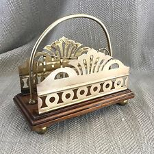 Victorian Letter Rack Vintage Antique Holder Brass Oak Wooden Tidy Paper Desk