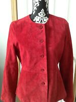 Women's Pursuits Ltd Red Leather Suede Jacket Size 6