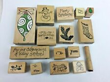 Rubber Stamps Lot of 16 Christmas & Holidays ~ Stocking ~ Snowman ~ Etc.