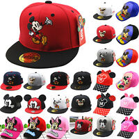 Mickey Minnie Mouse Baseball Cap Kids Boys Girls Snapback Sport Hip-Hop Sun Hat