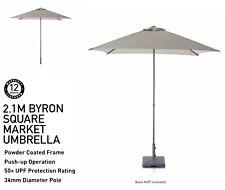 Marquee 2.1m Byron Square Market Beach Umbrella Taupe Colour Garden Outdoor