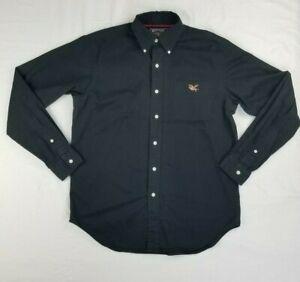 American Living Men's Button Down Embroidered Logo Eagle USA Flag Black Shirt M