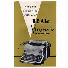 RC ALLEN VISOMATIC TYPEWRITER INSTRUCTION MANUAL Original User Vtg Antique