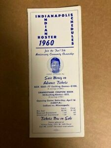 1960 Indianapolis Indians Minor League Spring Roster & Schedule w/ Bob Uecker