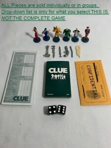 U-PICK 2002 Clue board game tokens cards weapons envelope detective sheet