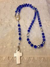 New Handmade  ST. CHRISTOPHER Center ROSARY 1/2 Crystal 1/2 Blue beads, AWESOME!