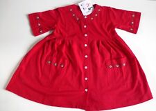 Baby Girls 3/4 Length Sleeve Dress- Red with Embroidered Flowers- Age 18-24 Mos