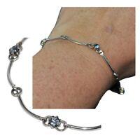 Bracelet en argent massif 925 maille ondulée cristal bleu 19cm bijou