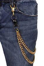 Men Gold Metal Wallet Chain KeyChain Biker Jeans Rocker 2 Strands Skull Charms