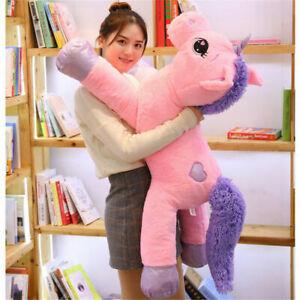 60/110cm Pink/White Pets Unicorn Giant Soft Toy Plush Stuffed Teddy Xmas Gift