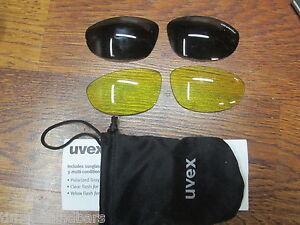 UVEX CYCLING SUN GLASSES YELLOW & GRAY FLASH LENSES