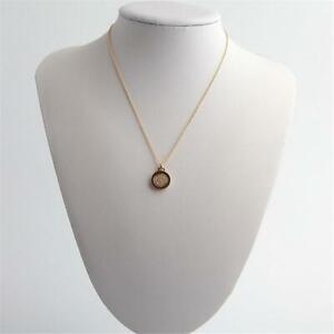 Michael Kors Flip Glitz Reversible Pendant Necklace Gold Tone