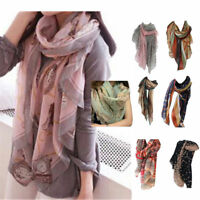 Women Fashion Pretty Long Soft Satin Printing Scarf Wrap Shawl Stole Scarves HOT
