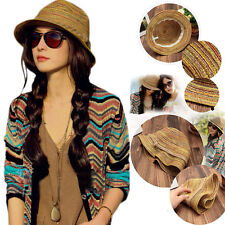 Women Colorful Striped Straw Beach Summer Sun Panama Hat Foldable Trendy