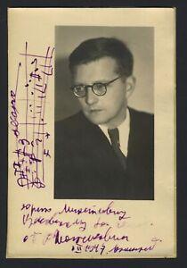 Dimitri SHOSTAKOVICH (Composer): Signed Photograph with AMQS of Piano Trio no. 2