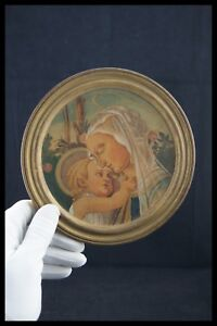 MATER AMABILIS WATERCOLORED PYROGRAPHY ON WOOD ROUND FRAME VIRGIN & CHILD JESUS
