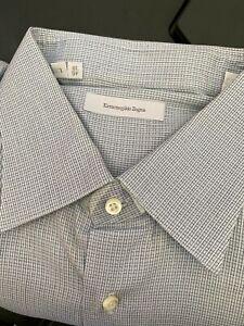 Ermenegildo Zegna Dress Shirt US Size 18, Italian 46, Blue Check, Cotton