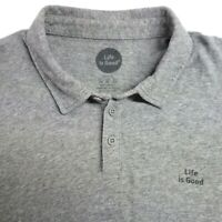 Life Is Good Classic Fit Polo Shirt Men's XL Heather Gray 100% Cotton Golf SS