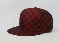 New Era 59Fifty Hat Mens MLB Los Angeles Dodgers Checker Red Black Fitted Cap