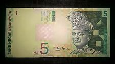 Malaysia Lima Ringgit Five Dollars RM 5 RM5 2001 Banknote P 41b UNC