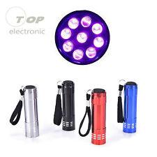 9 LED Flashlight Mini Ultra Violet Blacklight Torch Light Inspection Lamp