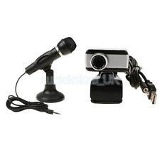 Mini Dynamic Microphone Mic w/ Stand + USB Webcam for Desktop Karaoke Skype