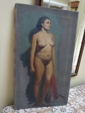 Vintage 1950s Brendon Berger Realistic Nude Woman Oil on Canvas~ Signed # 4 of 4