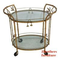 Vintage French Regency Faux Bamboo Gold Gilt Metal Lamp End Table Server