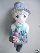 "Precious Moments 10"" Tall Angel Boy Pushing Cart 2004 Patio Garden Figurine"