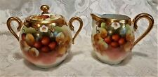 Pickard Limoges Creamer Covered Sugar Set Currants Signed Kriesche