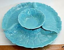 Vintage USA California Art Pottery Lazy Susan Serving Dish Set Aqua Blue