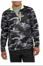 Mens Russell Athletic Poly Tech Fleece 1/4 Zip Pullover Shirt Top Black Camo M